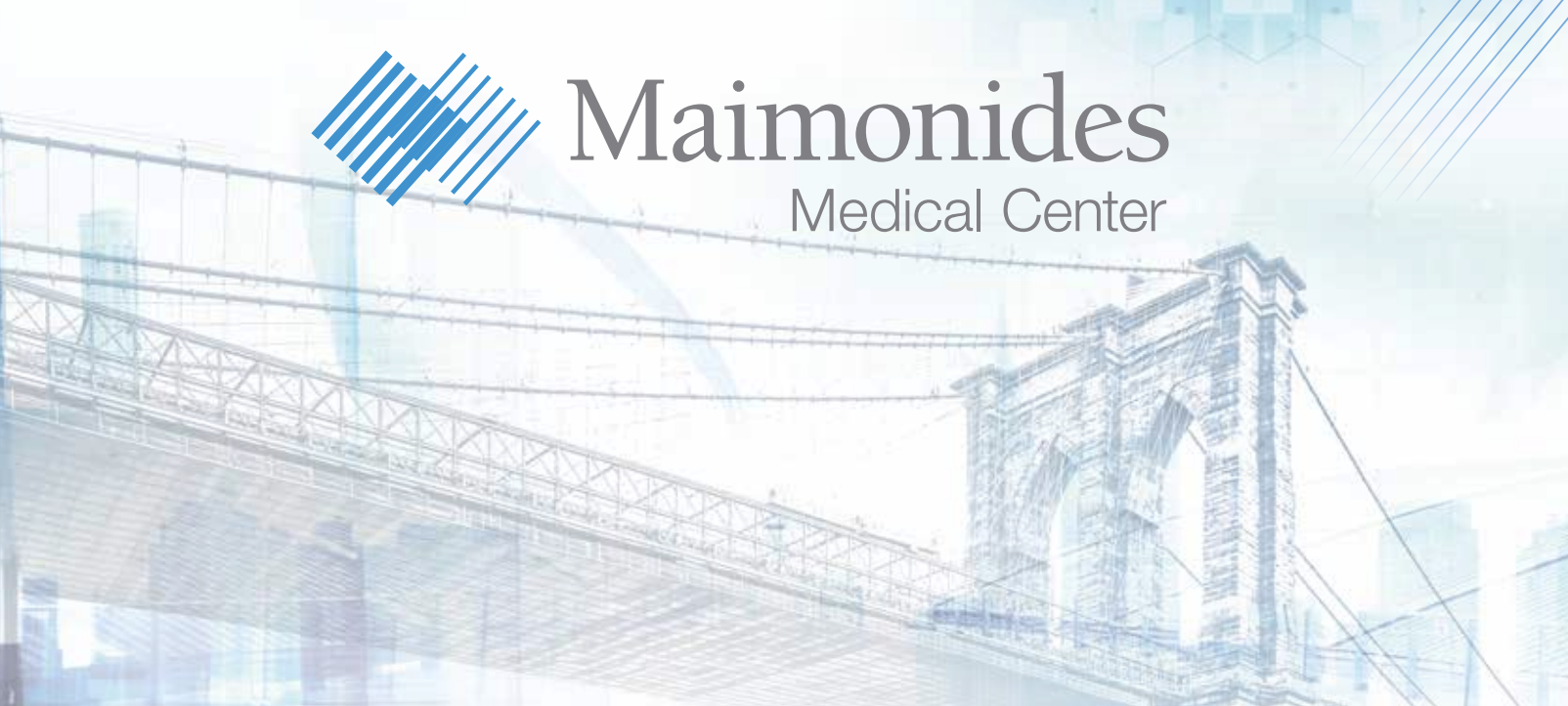 Maimonides Medical Center logo with Brooklyn Bridge background